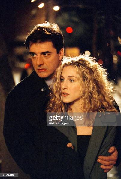 Actors Sarah Jessica Parker and Chris Noth on the set of 'Sex and the City'