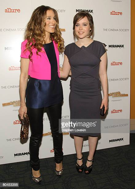 Actors Sarah Jessica Parker and Ellen Page attend 'Smart People' screening hosted by the Cinema Society Linda Wells at the Landmark Sunshine Theater...