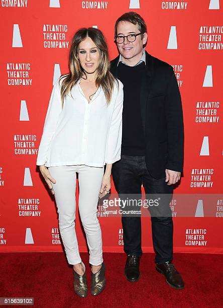 Actors Sarah Jessica Parker and Matthew Broderick attend the 'Hold On To Me Darling' opening night after party at The Gallery at The Dream Downtown...