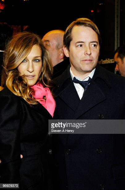 Actors Sarah Jessica Parker and Matthew Broderick attend the opening night of 'Present Laughter' on Broadway at the American Airlines Theatre on...
