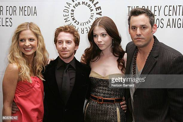 Actors Sarah Michelle Gellar Seth Green Michelle Trachtenberg and Nicolas Brendon from the show 'Buffy the Vampire Slayer' arrive at the Paley Center...