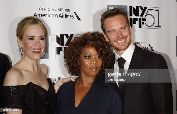 Actors Sarah Paulson Alfre Woodard and Michael Fassbender attend the '12 Years A Slave' Premiere during the 51st New York Film Festival at Alice...