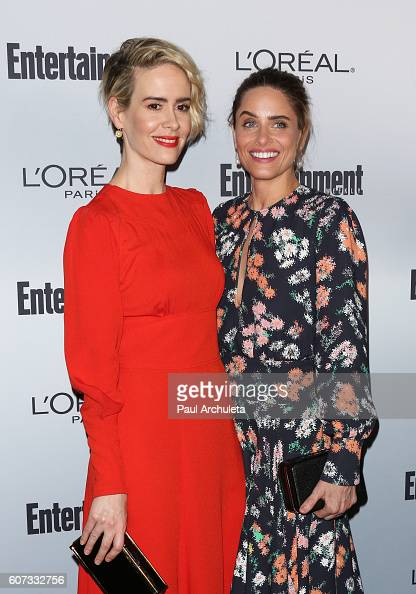 Actors Sarah Paulson and Amanda Peet attend Entertainment Weekly's 2016 PreEmmy party at Nightingale Plaza on September 16 2016 in Los Angeles...