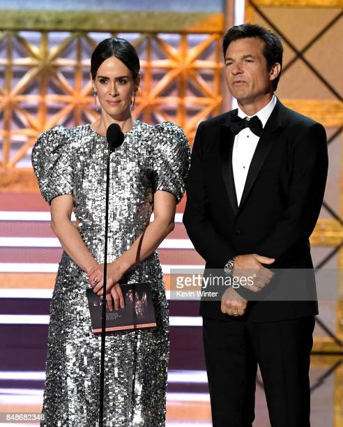 Actors Sarah Paulson and Jason Bateman speak onstage during the 69th Annual Primetime Emmy Awards at Microsoft Theater on September 17 2017 in Los...