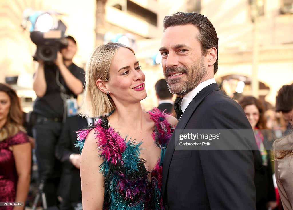 Actors Sarah Paulson and Jon Hamm attend The 22nd Annual Screen Actors Guild Awards at The Shrine Auditorium on January 30 2016 in Los Angeles...