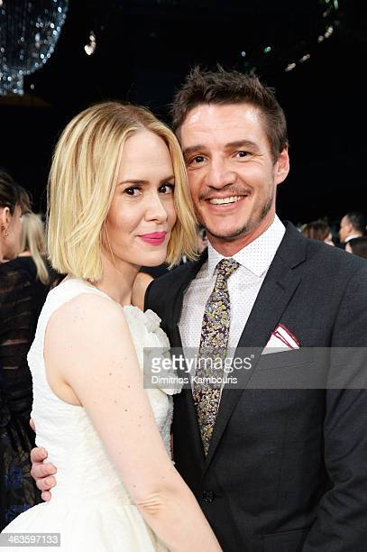 Actors Sarah Paulson and Pedro Pascal attend the 20th Annual Screen Actors Guild Awards at The Shrine Auditorium on January 18 2014 in Los Angeles...