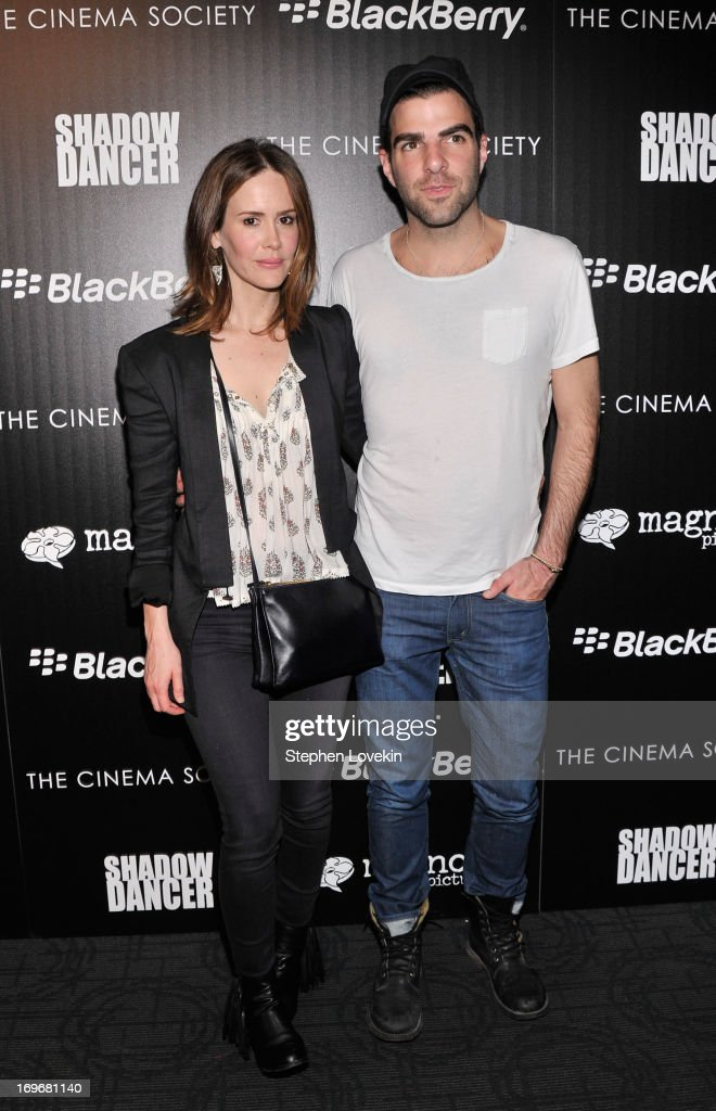 Actors <a gi-track='captionPersonalityLinkClicked' href=/galleries/search?phrase=Sarah+Paulson&family=editorial&specificpeople=220657 ng-click='$event.stopPropagation()'>Sarah Paulson</a> and <a gi-track='captionPersonalityLinkClicked' href=/galleries/search?phrase=Zachary+Quinto&family=editorial&specificpeople=715956 ng-click='$event.stopPropagation()'>Zachary Quinto</a> attend a screening of Magnolia Pictures' 'Shadow Dancer' hosted by the Cinema Society & BlackBerry at Sunshine Landmark on May 30, 2013 in New York City.