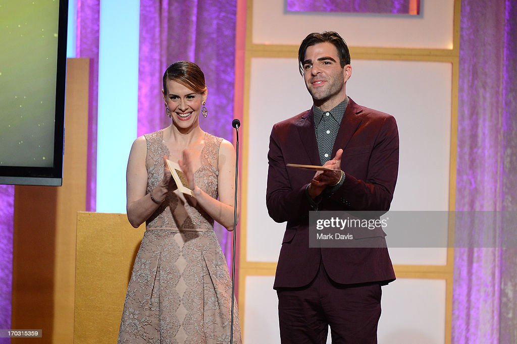 Actors <a gi-track='captionPersonalityLinkClicked' href=/galleries/search?phrase=Sarah+Paulson&family=editorial&specificpeople=220657 ng-click='$event.stopPropagation()'>Sarah Paulson</a> and <a gi-track='captionPersonalityLinkClicked' href=/galleries/search?phrase=Zachary+Quinto&family=editorial&specificpeople=715956 ng-click='$event.stopPropagation()'>Zachary Quinto</a> speak onstage during Broadcast Television Journalists Association's third annual Critics' Choice Television Awards at The Beverly Hilton Hotel on June 10, 2013 in Los Angeles, California.