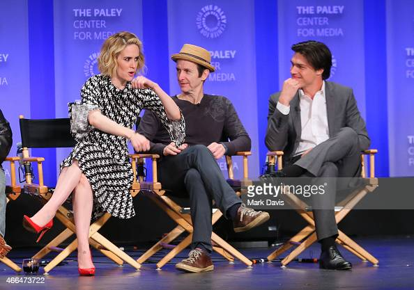 Actors Sarah Paulson Denis O'Hare and Finn Wittrock attend The Paley Center for Media's 32nd annual PALEYFEST LA 'American Horror Story Freak Show'...