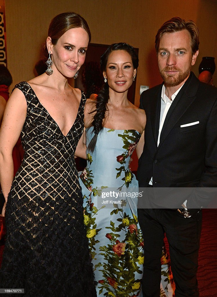 Actors <a gi-track='captionPersonalityLinkClicked' href=/galleries/search?phrase=Sarah+Paulson&family=editorial&specificpeople=220657 ng-click='$event.stopPropagation()'>Sarah Paulson</a>, <a gi-track='captionPersonalityLinkClicked' href=/galleries/search?phrase=Lucy+Liu&family=editorial&specificpeople=201874 ng-click='$event.stopPropagation()'>Lucy Liu</a> and <a gi-track='captionPersonalityLinkClicked' href=/galleries/search?phrase=Ewan+McGregor&family=editorial&specificpeople=202863 ng-click='$event.stopPropagation()'>Ewan McGregor</a> attend HBO's Official Golden Globe Awards After Party held at Circa 55 Restaurant at The Beverly Hilton Hotel on January 13, 2013 in Beverly Hills, California.