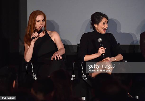 Actors Sarah Rafferty and Meghan Markle attend a QA following the premiere of USA Network's 'Suits' Season 5 at Sheraton Los Angeles Downtown Hotel...