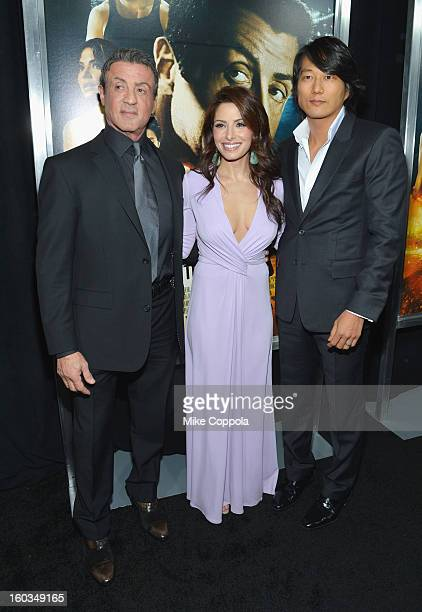 Actors Sarah Shahi Sung Kang and Sylvester Stallone attend the 'Bullet To The Head' New York premiere at AMC Lincoln Square Theater on January 29...