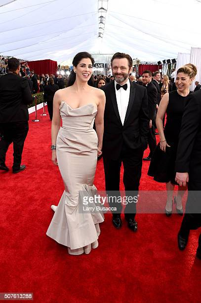 Actors Sarah Silverman and Michael Sheen attend The 22nd Annual Screen Actors Guild Awards at The Shrine Auditorium on January 30 2016 in Los Angeles...
