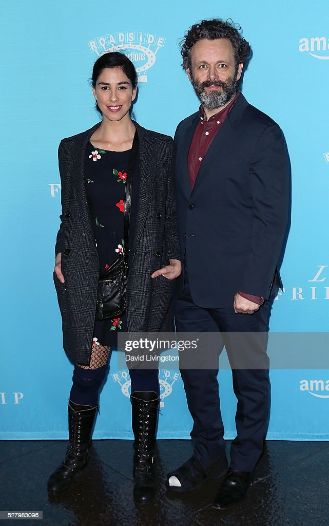 Actors <a gi-track='captionPersonalityLinkClicked' href=/galleries/search?phrase=Sarah+Silverman&family=editorial&specificpeople=241299 ng-click='$event.stopPropagation()'>Sarah Silverman</a> (L) and <a gi-track='captionPersonalityLinkClicked' href=/galleries/search?phrase=Michael+Sheen&family=editorial&specificpeople=213120 ng-click='$event.stopPropagation()'>Michael Sheen</a> attend the premiere of Roadside Attractions' 'Love & Friendship' at the Directors Guild of America on May 3, 2016 in Los Angeles, California.