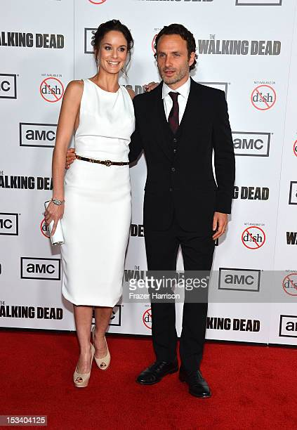 Actors Sarah Wayne Callies and Andrew Lincoln arrive at the premiere of AMC's 'The Walking Dead' 3rd Season at Universal CityWalk on October 4 2012...