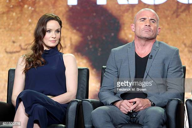 Actors Sarah Wayne Callies and Dominic Purcell of the television show 'Prisonbreak' speak onstage during the FOX portion of the 2017 Winter...