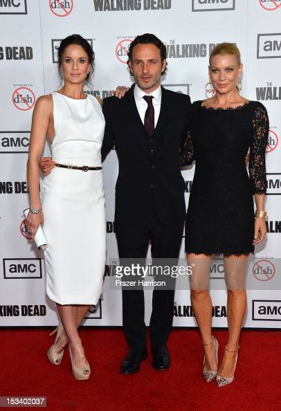 Actors Sarah Wayne Callies Andrew Lincoln and Laurie Holden arrive at the premiere of AMC's 'The Walking Dead' 3rd Season at Universal CityWalk on...