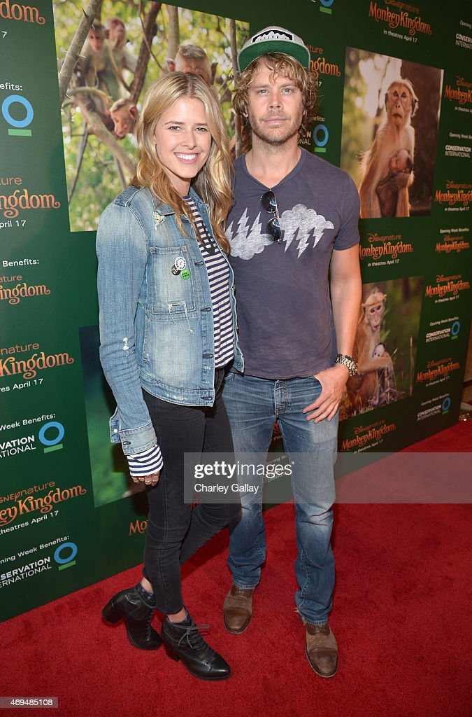 Actors Sarah Wright and Eric Christian Olsen attend the world premiere Of Disney's 'Monkey Kingdom' at Pacific Theatres at The Grove on April 12 2015...