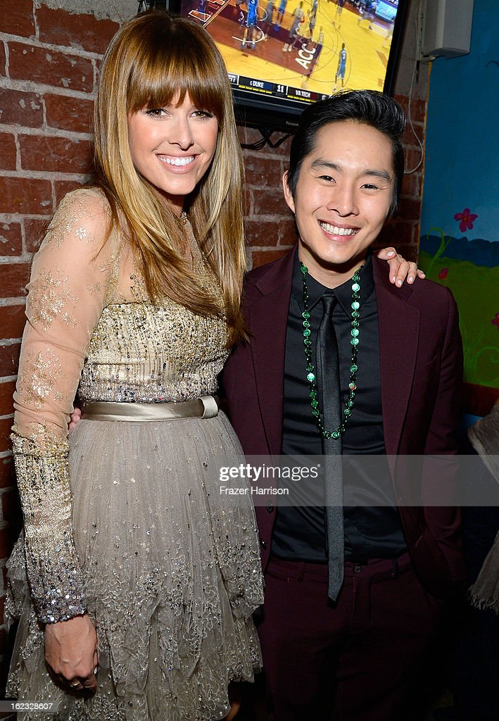 Actors Sarah Wright and Justin Chon attend Relativity Media's '21 and Over' premiere after party at Westwood Brewing Co on February 21 2013 in...