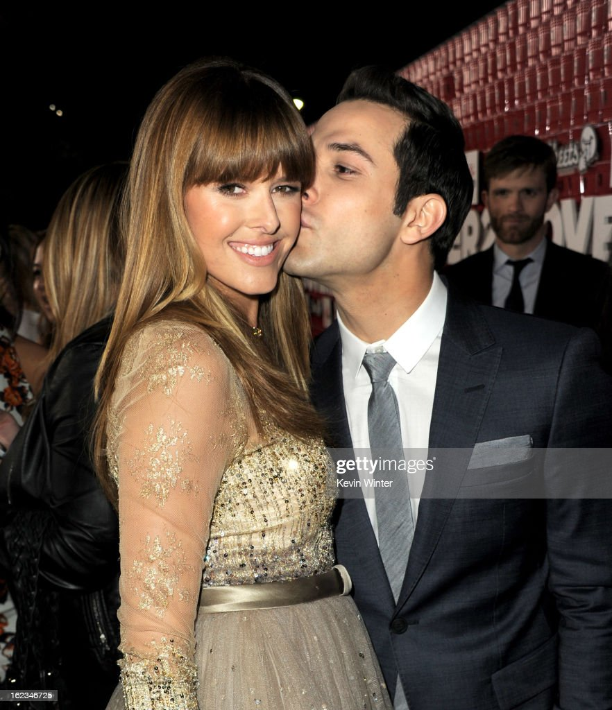 Actors Sarah Wright and Skylar Astin arrive at the premiere of Relativity Media's '21 And Over' at the Village Theatre on February 21 2013 in Los...