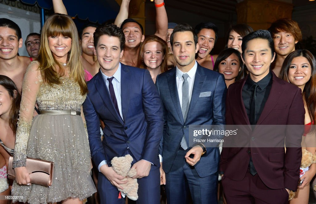 Actors Sarah Wright Miles Teller Skylar Astin and Justin Chon attend Relativity Media's '21 and Over' premiere at Westwood Village Theatre on...