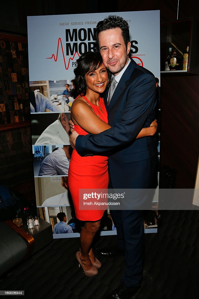 Actors Sarayu Rao (L) and <a gi-track='captionPersonalityLinkClicked' href=/galleries/search?phrase=Jonathan+Silverman&family=editorial&specificpeople=228073 ng-click='$event.stopPropagation()'>Jonathan Silverman</a> attend the screening of TNT's 'Monday Mornings' at BOA Steakhouse on January 24, 2013 in West Hollywood, California.