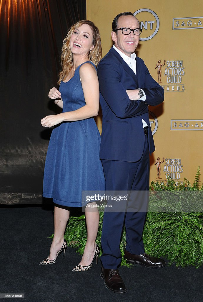 Actors <a gi-track='captionPersonalityLinkClicked' href=/galleries/search?phrase=Sasha+Alexander&family=editorial&specificpeople=215373 ng-click='$event.stopPropagation()'>Sasha Alexander</a> and <a gi-track='captionPersonalityLinkClicked' href=/galleries/search?phrase=Clark+Gregg&family=editorial&specificpeople=587275 ng-click='$event.stopPropagation()'>Clark Gregg</a> attend the 20th Annual Screen Actors Guild Awards Nominations Announcement at Pacific Design Center on December 11, 2013 in West Hollywood, California.