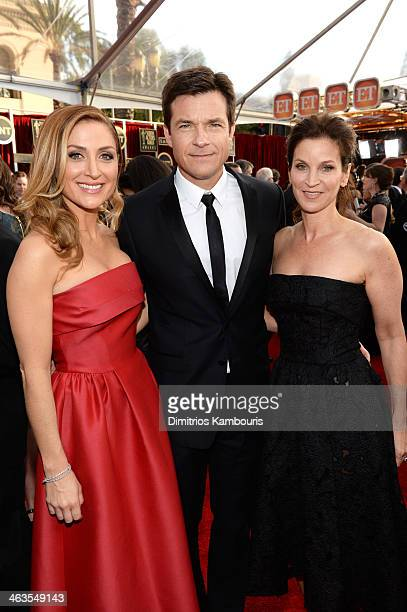 Actors Sasha Alexander Jason Bateman and Amanda Anka attend 20th Annual Screen Actors Guild Awards at The Shrine Auditorium on January 18 2014 in Los...