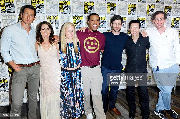 Actors Sasha Roiz Bree Turner Claire Coffee Russell Hornsby David Giuntoli Reggie Lee and Silas Weir attend the 'Grimm' press room during ComicCon...