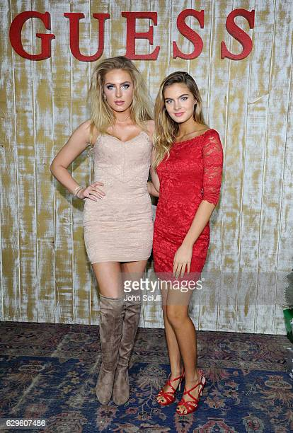 Actors Saxon Sharbino and Brighton Sharbino attend GUESS Glitz and Glam Holiday event at The Carondelet House on December 13 2016 in Los Angeles...