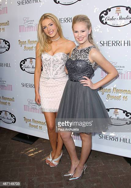 Actors Saxon Sharbino and Danika Yarosh attend Ryan Newman's Glitz And Glam Sweet 16 party on April 27 2014 in Hollywood California