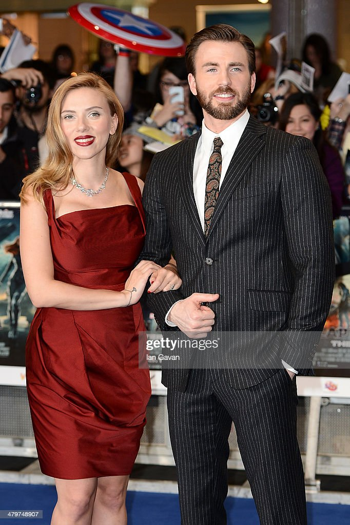 Actors <a gi-track='captionPersonalityLinkClicked' href=/galleries/search?phrase=Scarlett+Johansson&family=editorial&specificpeople=171858 ng-click='$event.stopPropagation()'>Scarlett Johansson</a> and <a gi-track='captionPersonalityLinkClicked' href=/galleries/search?phrase=Chris+Evans+-+Actor&family=editorial&specificpeople=6873149 ng-click='$event.stopPropagation()'>Chris Evans</a> attend the UK Film Premiere of 'Captain America: The Winter Soldier' at Westfield London on March 20, 2014 in London, England.