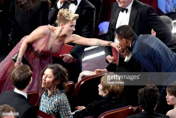 Actors Scarlett Johansson and Terrence Howard in the audience during the 89th Annual Academy Awards at Hollywood Highland Center on February 26 2017...