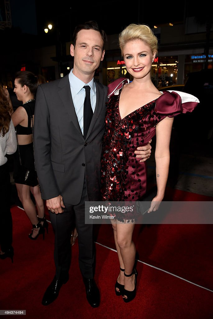 Actors Scoot McNairy (L) and Whitney Able attend the premiere of Warner Bros. Pictures' 'Our Brand Is Crisis' at TCL Chinese Theatre on October 26, 2015 in Hollywood, California.
