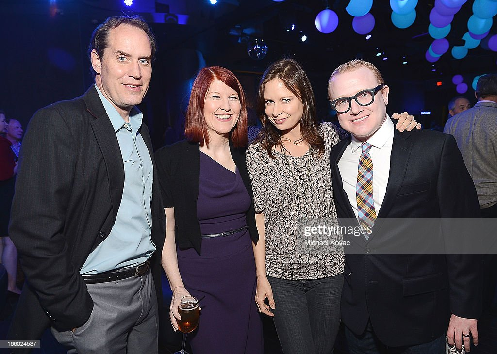 Actors Scot Robinson, <a gi-track='captionPersonalityLinkClicked' href=/galleries/search?phrase=Kate+Flannery&family=editorial&specificpeople=580714 ng-click='$event.stopPropagation()'>Kate Flannery</a>, <a gi-track='captionPersonalityLinkClicked' href=/galleries/search?phrase=Mary+Lynn+Rajskub&family=editorial&specificpeople=545522 ng-click='$event.stopPropagation()'>Mary Lynn Rajskub</a>, and Brad Wollack attend the Tuberous Sclerosis Alliance Comedy For A Cure 2013 at Lure on April 7, 2013 in Hollywood, California.