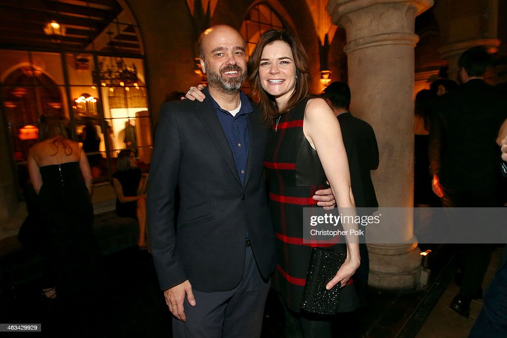 Actors Scott Adsit and <a gi-track='captionPersonalityLinkClicked' href=/galleries/search?phrase=Betsy+Brandt&family=editorial&specificpeople=4819893 ng-click='$event.stopPropagation()'>Betsy Brandt</a> attend the Entertainment Weekly celebration honoring this year's SAG Awards nominees sponsored by TNT & TBS and essie at Chateau Marmont on January 17, 2014 in Los Angeles, California.