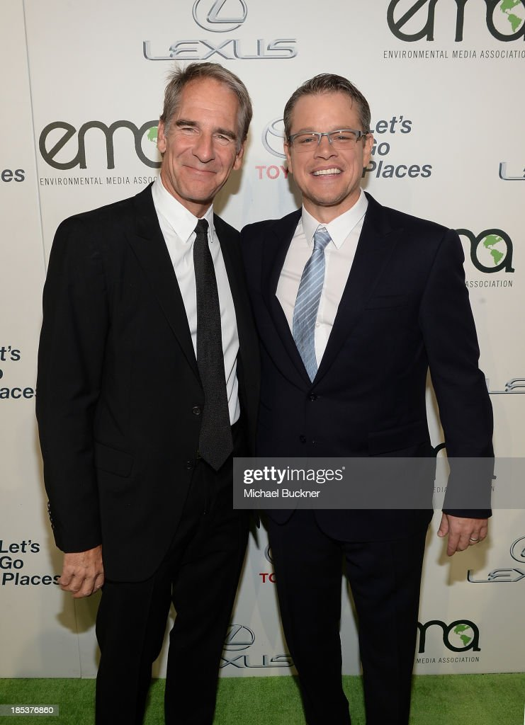 Actors <a gi-track='captionPersonalityLinkClicked' href=/galleries/search?phrase=Scott+Bakula&family=editorial&specificpeople=217589 ng-click='$event.stopPropagation()'>Scott Bakula</a> and <a gi-track='captionPersonalityLinkClicked' href=/galleries/search?phrase=Matt+Damon&family=editorial&specificpeople=202093 ng-click='$event.stopPropagation()'>Matt Damon</a> arrive at the 23rd Annual Environmental Media Awards presented by Toyota and Lexus at Warner Bros. Studios on October 19, 2013 in Burbank, California.