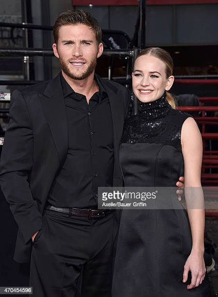 Actors Scott Eastwood and Britt Robertson arrive at the Los Angeles premiere of 'The Longest Ride' at TCL Chinese Theatre IMAX on April 6 2015 in...