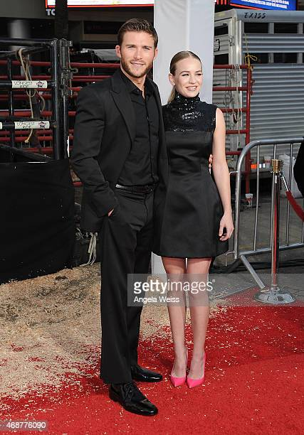 Actors Scott Eastwood and Britt Robertson attend the premiere of Twentieth Century Fox's 'The Longest Ride' at TCL Chinese Theatre IMAX on April 6...
