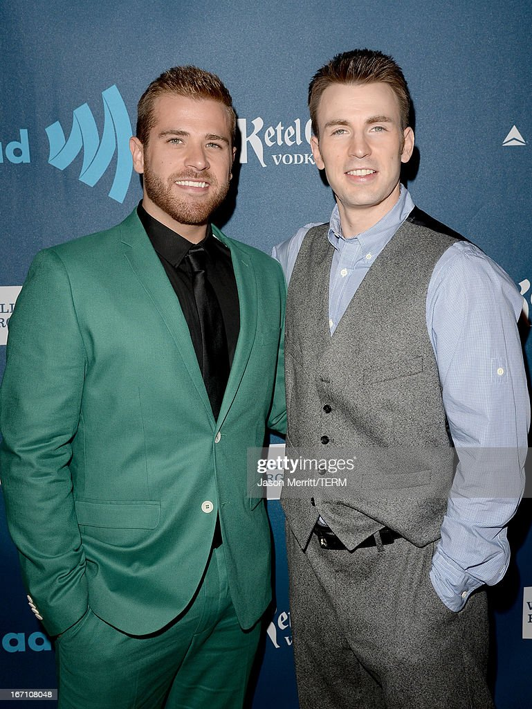 Actors Scott Evans and Chris Evans arrive at the 24th Annual GLAAD Media Awards at JW Marriott Los Angeles at LA LIVE on April 20 2013 in Los Angeles...