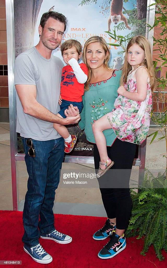 Actors Scott Foley and Marika Dominczyk attend the Premiere Of Warner Bros Pictures And IMAX Entertainment's 'Island Of Lemurs Madagascar' at...