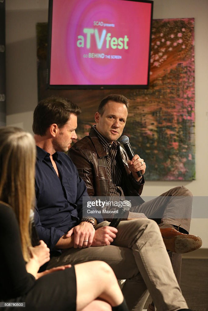 Actors <a gi-track='captionPersonalityLinkClicked' href=/galleries/search?phrase=Scott+Foley&family=editorial&specificpeople=615795 ng-click='$event.stopPropagation()'>Scott Foley</a> and Tom Verica speak on stage during 'Behind The Lens: ShondaLand' panel during aTVfest 2016 presented by SCAD on February 6, 2016 in Atlanta, Georgia.