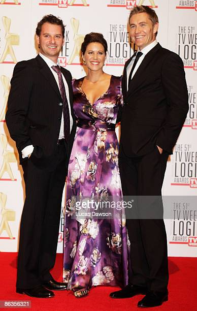 Actors Scott Major Jo Hall and Brett Tucker arrive for the 51st TV Week Logie Awards at the Crown Towers Hotel and Casino on May 3 2009 in Melbourne...
