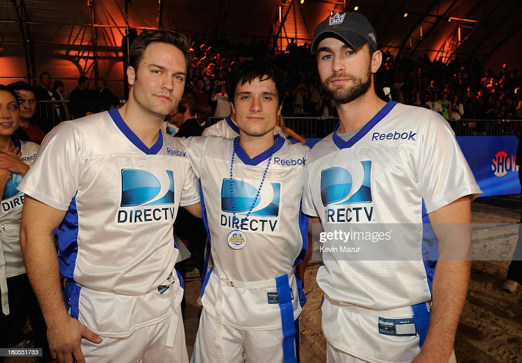 Actors Scott Porter, Josh Hutcherson and Chace Crawford attend DIRECTV'S 7th annual celebrity Beach Bowl at DTV SuperFan Stadium at Mardi Gras World on February 2, 2013 in New Orleans, Louisiana.