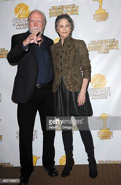 Actors Scott Wilson and Melissa McBride pose inside the press room of the 40th Annual Saturn Awards held at The Castaway on June 26 2014 in Burbank...