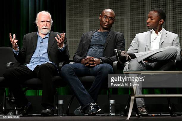 Actors Scott Wilson Lance Reddick and Jamie Hector speak onstage at the 'Bosch' panel during the Amazon Prime Instant Video portion of the 2014...