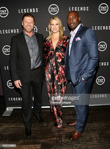 Actors Sean Bean Ali Larter and Morris Chestnut attend the 'Legends' Series Premiere at Tribeca Grand Screening Room on August 5 2014 in New York City