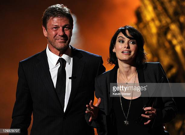 Actors Sean Bean and Lena Headey accepts the Best TV Show award onstage during Spike TV's 'SCREAM 2011' awards held at Universal Studios on October...