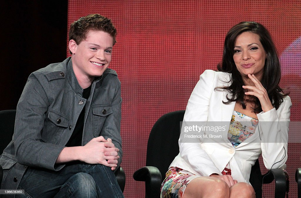 Actors Sean Berdy (L) and <a gi-track='captionPersonalityLinkClicked' href=/galleries/search?phrase=Constance+Marie&family=editorial&specificpeople=204646 ng-click='$event.stopPropagation()'>Constance Marie</a> speak onstage during the 'Switched At Birth' panel during the Disney/ABC Television Group portion of the 2012 Winter TCA Tour at The Langham Huntington Hotel and Spa on January 9, 2012 in Pasadena, California.
