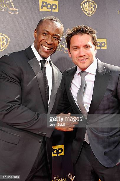 Actors Sean Blakemore and Dominic Zamprogna attend The 42nd Annual Daytime Emmy Awards at Warner Bros Studios on April 26 2015 in Burbank California